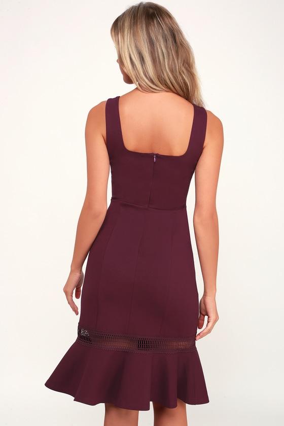 7006faf5860d Cute Plum Purple Dress - Bodycon Dress - Crochet Trim Midi Dress