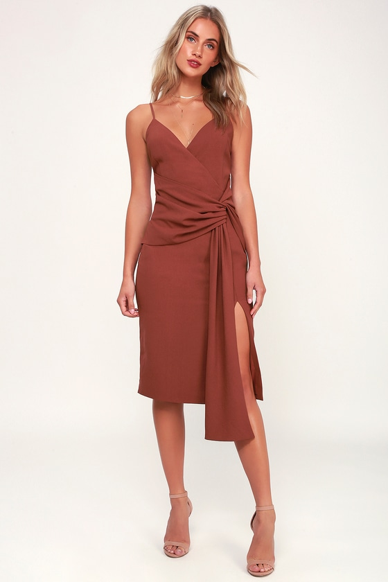 2f529ca297db Chic Washed Burgundy Midi Dress - Knot Front Dress - Knotted Midi