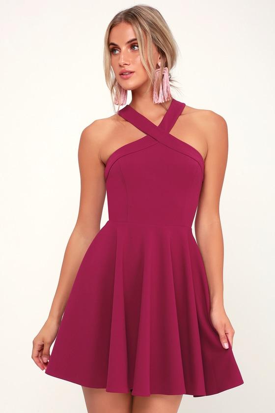 cdbe21a461e3ad Chic Magenta Dress - Skater Dress - Halter Dress - Short Dress
