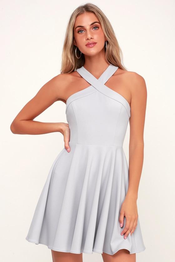 6525bce046f7 Chic Light Grey Dress - Skater Dress - Halter Dress - Short Dress