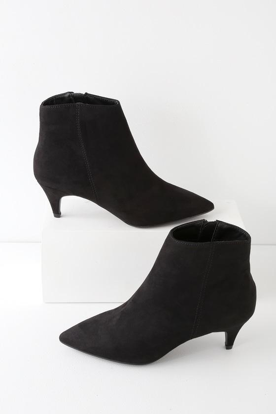 b8a9a2630de Cute Black Suede Booties - Ankle Booties - Kitten Heel Booties