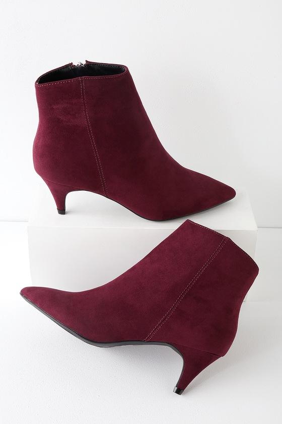 bc41a4c629 Cute Wine Suede Booties - Ankle Booties - Kitten Heel Booties
