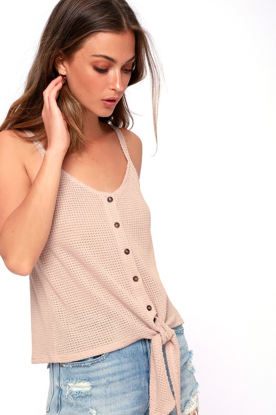 b80fc2127b2e8 LUSH Tank Top - Knit Tank Top - Pink Top - Tie-Front Top
