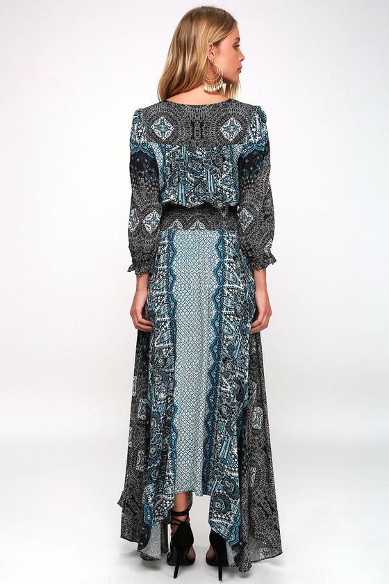 388507fa3b9 Free People Mexicali Rose - Black Print Dress - Boho Maxi Dress