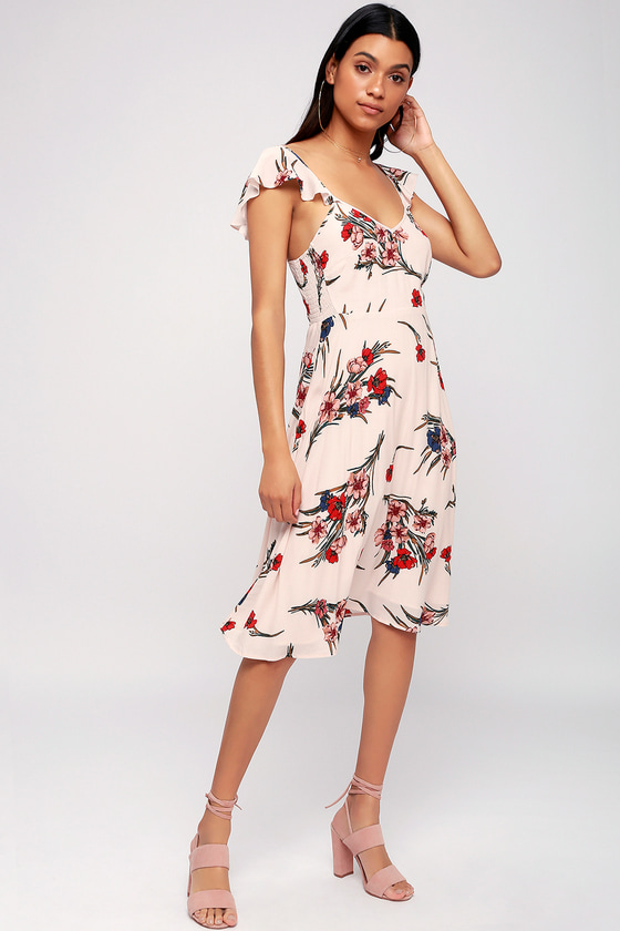 ecf10a256da2 Cute Midi Dress - Blush Dress - Floral Print Dress