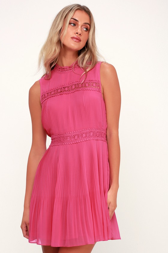 cb0ee111f5 Cute Fuchsia Dress - Lace Dress - Pleated Dress - Skater Dress