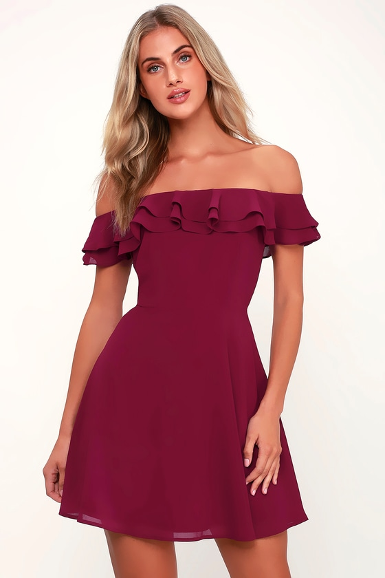 f93e179835e1 Cute Burgundy Dress - OTS Skater Dress - Off-the-Shoulder Dress