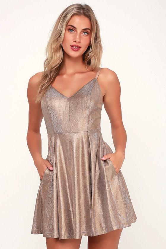 2e14d32ae1 Cute Gold Dress - Skater Dress - Sleeveless Metallic Dress
