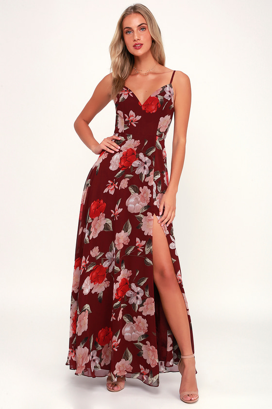 Lulus Exclusive! You\\\'re bound to be blooming with compliments when you don the Lulus Into Bloom Burgundy Floral Print Maxi Dress! Moody floral print, in shades of pink, cream, taupe, red, and green, decorates this stunning, woven dress with a princess-seamed bodice, fitted waist, and flowing maxi skirt with thigh-high slit. Pair with heels and an RSVP invite! Adjustable skinny straps and hidden back zipper/clasp. Fit: This garment fits true to size. Length: Floor length. Size small measures 54.25\\\