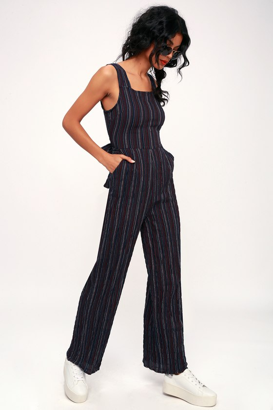 51ec0539b47 Moon River Katherine - Navy Blue Jumpsuit - Striped Jumpsuit