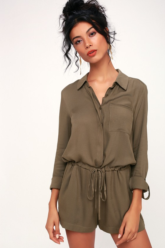 89efd19b4b1 Cute Olive Green Romper - Long Sleeve Romper - Button-Up Romper
