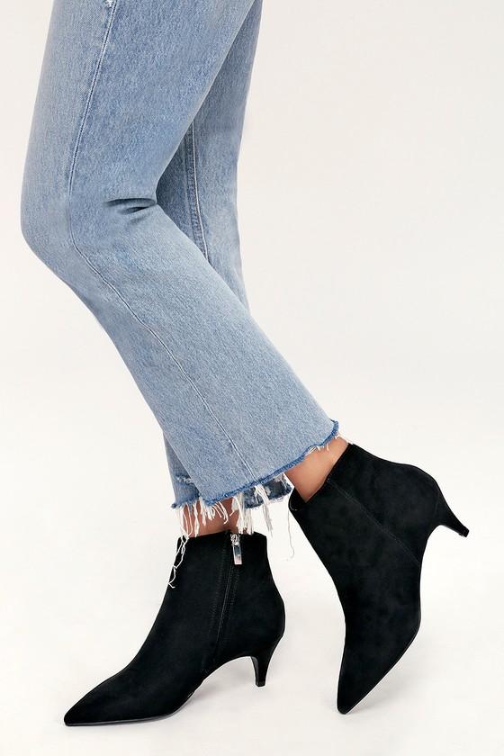 05206cddfe Cute Black Suede Booties - Ankle Booties - Kitten Heel Booties