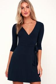 b93ef3d125952 Cute Navy Blue Dress - Scalloped Dress - Skater Dress