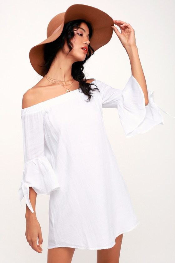 1d50bf0a12e2 O Neill Clady - White Off-the-Shoulder Dress - Cute Shift Dress