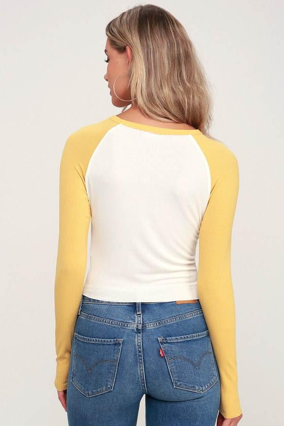 cec5142a8f3e Cute White and Mustard Yellow Tee - Baseball Tee - Cropped Tee