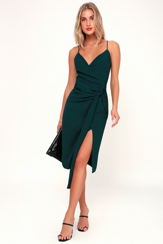 242f9725854e Chic Forest Green Midi Dress - Knot Front Dress - Knotted Midi
