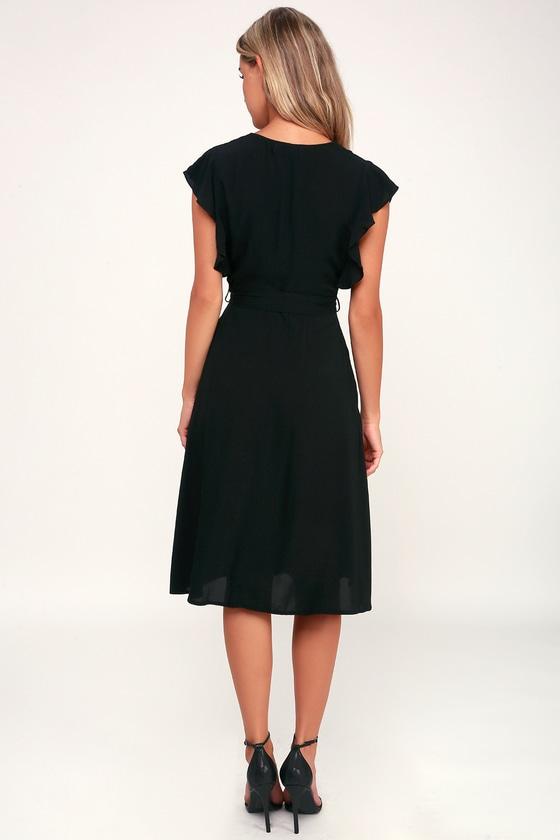 Chic Black Dress Black Midi Dress Button Front Midi Dress