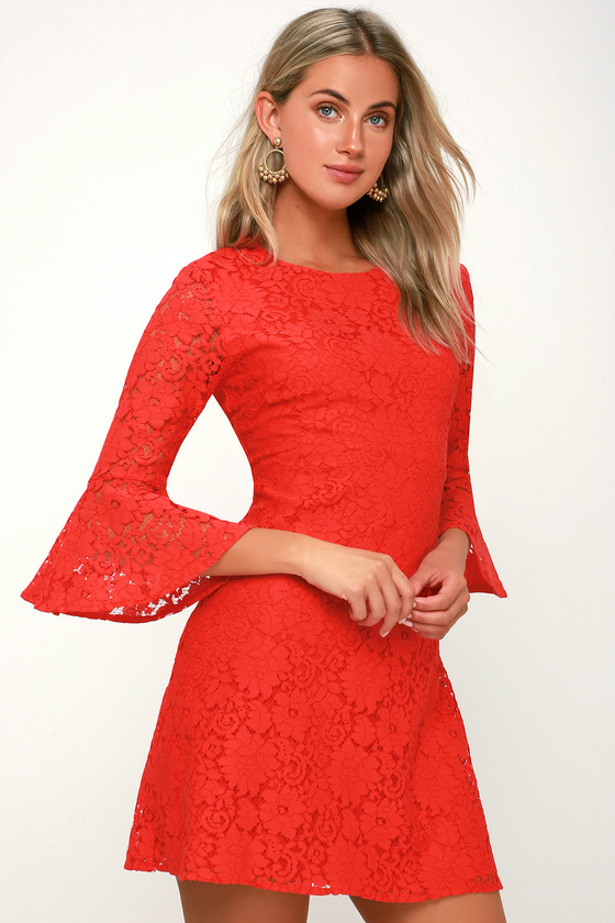 9c45a51d942 Cute Red Dress - Lace Dress - Flounce Dress - Red Party Dress