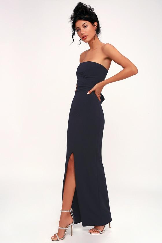 24b020b6b205 Lovely Navy Blue Dress - Strapless Dress - Maxi Dress - Gown