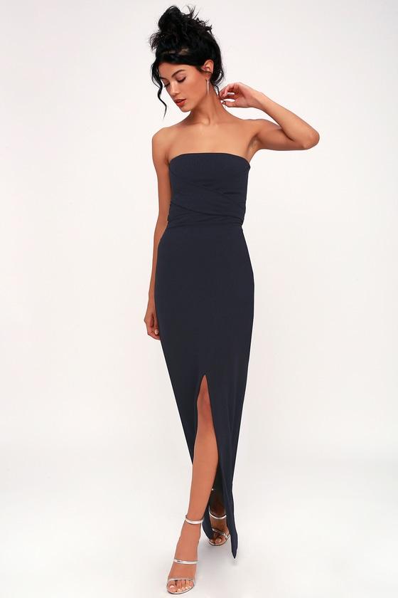 430f0b271329 Lovely Navy Blue Dress - Strapless Dress - Maxi Dress - Gown