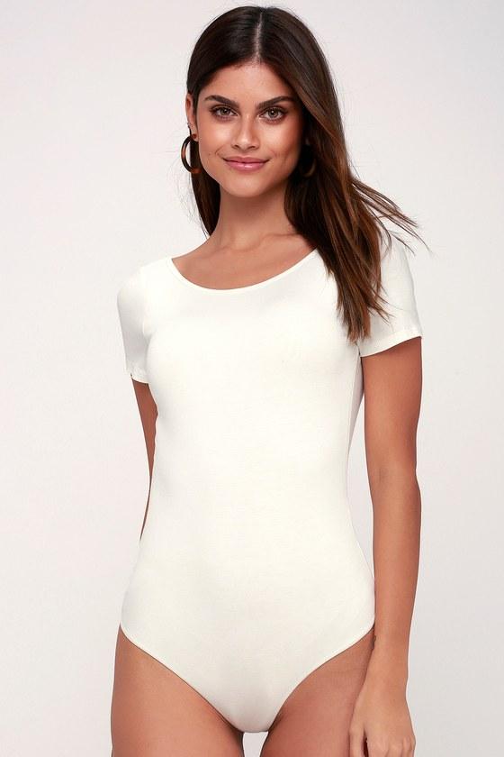 Cute White Bodysuit - Short Sleeve Bodysuit - White Bodysuit b958c7387