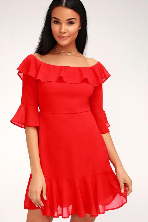 Sexy Red Dress - Ruffle Dress - Mini Dress - Little Red Dress da0d581ce