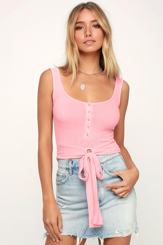 112f5a3f4bd Project Social T - Pink Ribbed Top - Tie-Front Tank - Crop Top