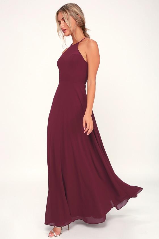 78d01a0301 Glam Burgundy Maxi Dress - Sweetheart Maxi Dress - Burgundy Gown
