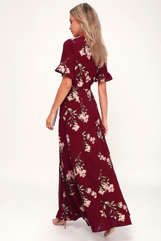 5e52d0bf8d7f9 Cute Burgundy Maxi Dress - Floral Print Dress - Floral Maxi Dress