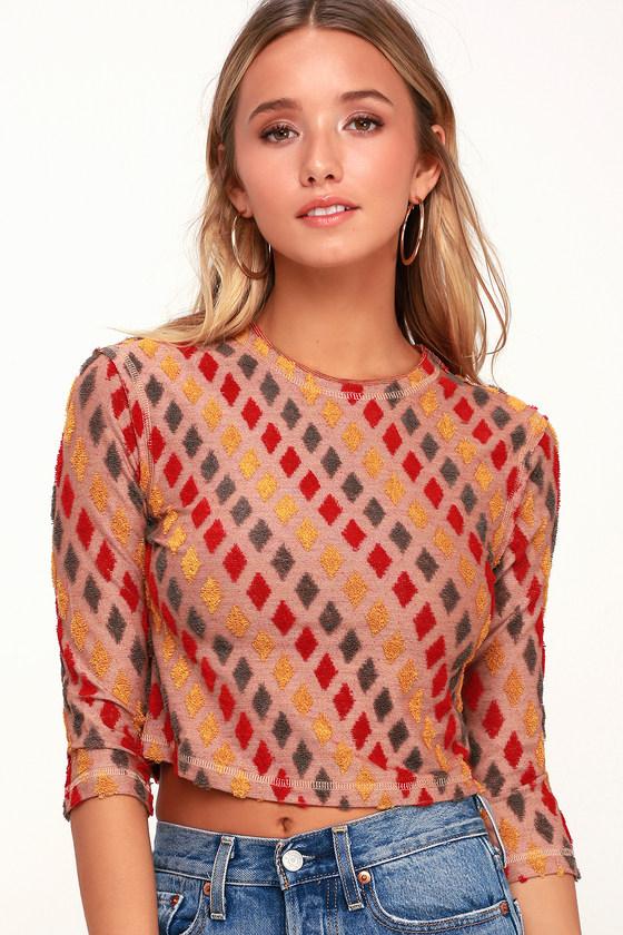 Women's 70s Shirts, Blouses, Hippie Tops Magic Carpet Red Multi Crop Top - Lulus $48.00 AT vintagedancer.com