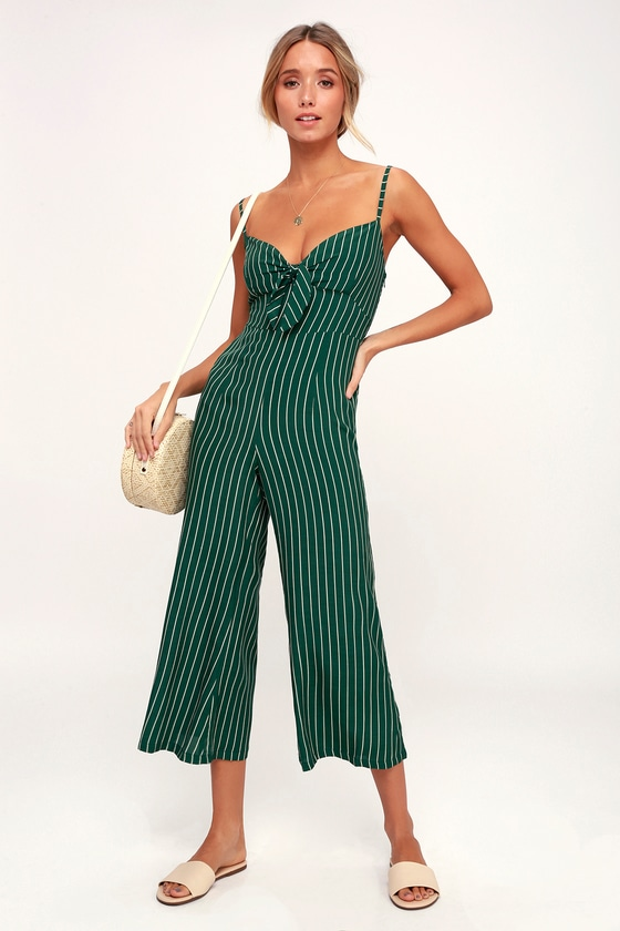 56a5f2a6f1b Faithfull the Brand Presley - Green Striped Jumpsuit - Jumpsuit