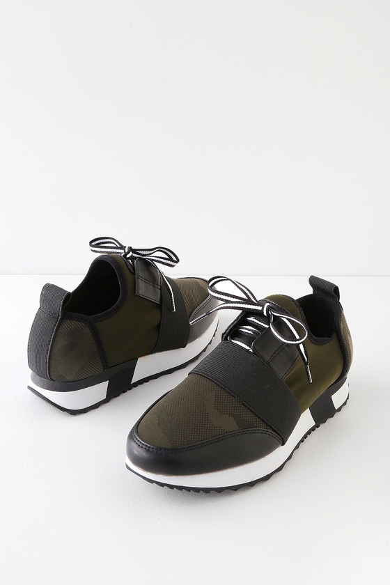 a58a3b2870e Steve Madden Antics - Green Camouflage Sneakers - Trendy Sneakers