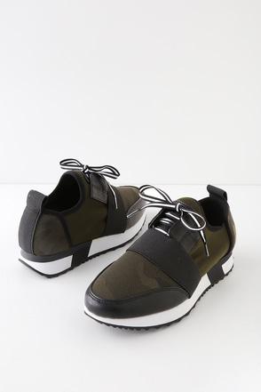 4c2ae13779c Steve Madden Antics - Green Camouflage Sneakers - Trendy Sneakers