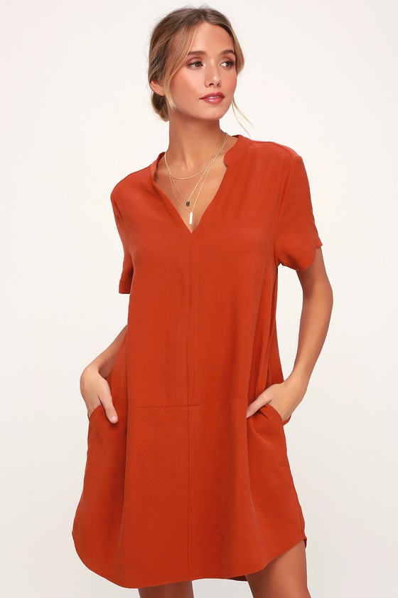 Cute Rust Orange Shift Dress Short Sleeve Dress Shift Dress