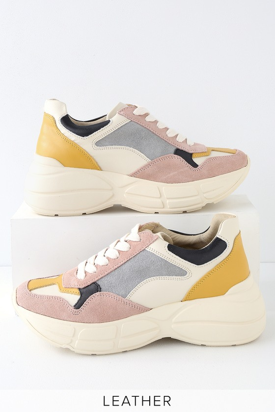 63c4c6faf15 Steve Madden Memory - Pink Multi Sneakers - Genuine Leather Shoes