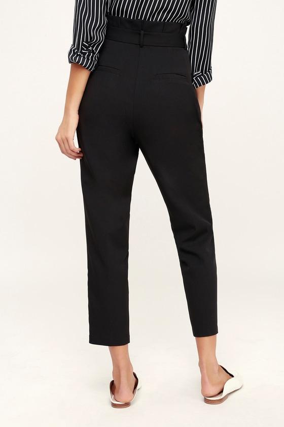 98e043a82d7 Chic Black Trousers - Paperbag Waist Pants - Black Office Pants