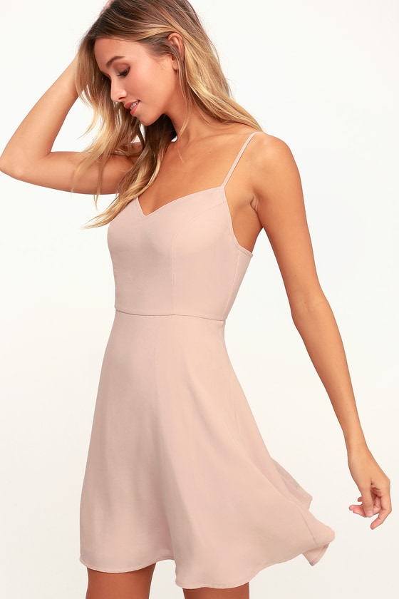 662f96533e82 Cute Blush Dress - Blush Skater Dress - Light Pink Skater Dress