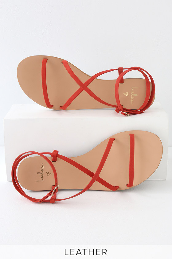 160e24bcea23a2 Cute Kid Suede Sandals - Red Suede Sandals - Strappy Sandals