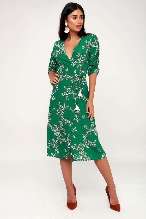 d5461a1454e2 Faithfull the Brand Anne Marie - Green Floral Print Wrap Dress