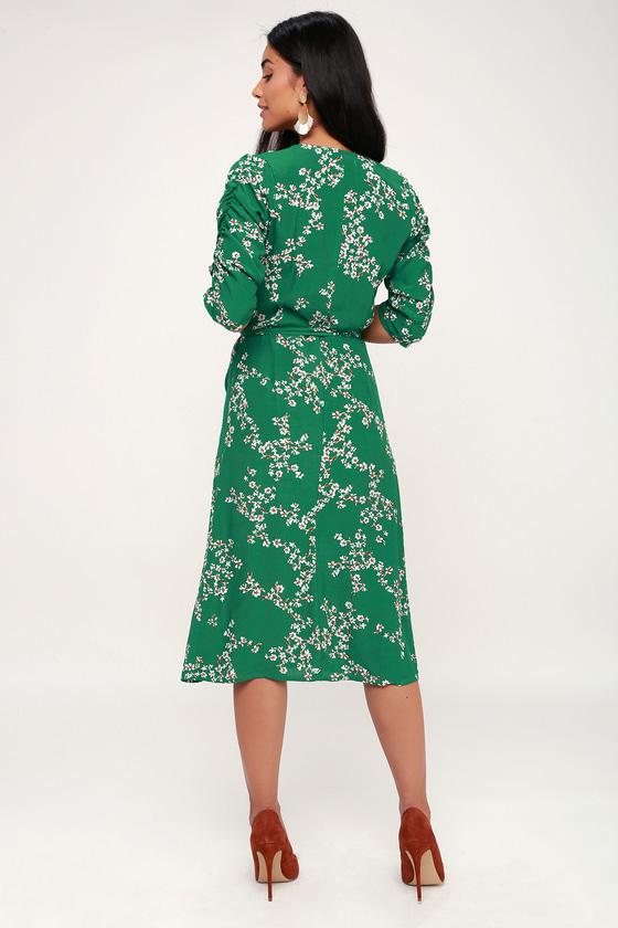 4a9ea6a929ed Faithfull the Brand Anne Marie - Green Floral Print Wrap Dress
