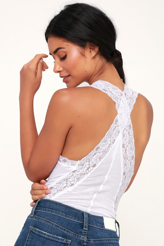 966b2dc58289 Free People Naughty But Nice - White Lace Bodysuit - Ribbed Top