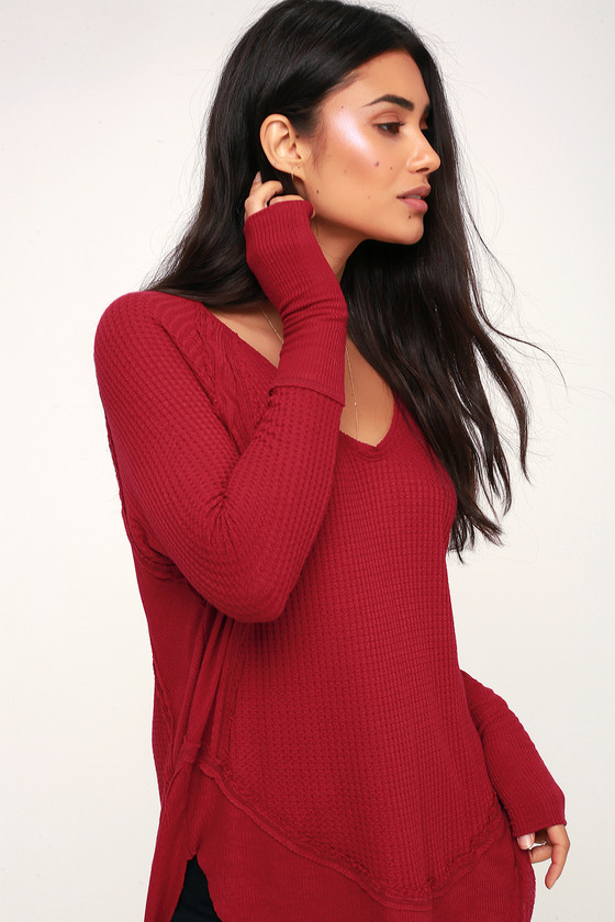 6ffb0d101d Free People Catalina - Red Long Sleeve Top - Thermal Shirt