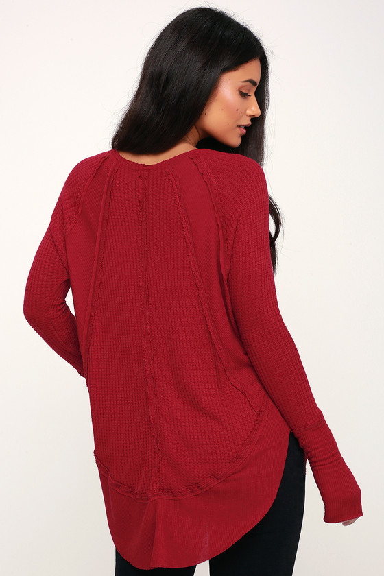 3a19a23a54 Free People Catalina - Red Long Sleeve Top - Thermal Shirt