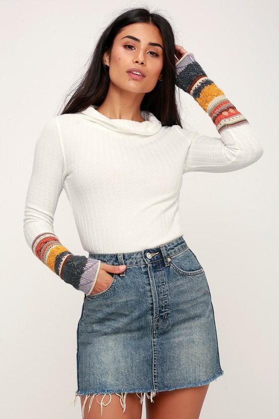 8b7f2bfc63f401 Free People Rugged A-Line - Medium Wash Mini Skirt - Denim Skirt