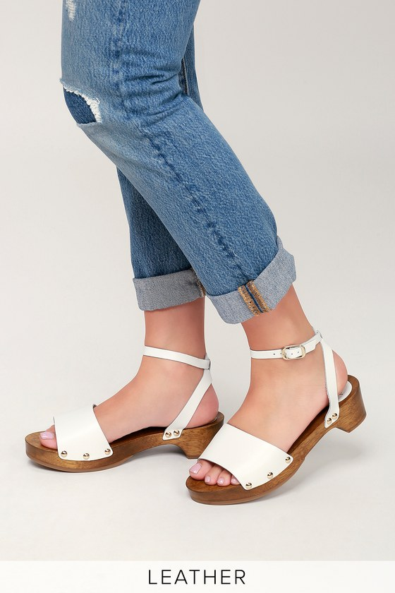 e208f7ce57c Chic White Leather Clog Sandals - Open-Toe Clogs - Cute Sandals
