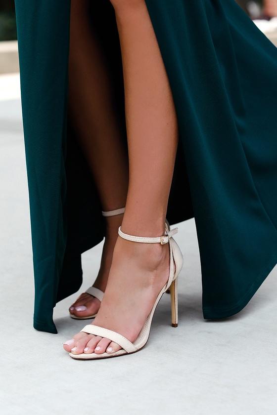 ed69c8292c04 Cute Nude Heels - Ankle Strap Heels - Suede Heels