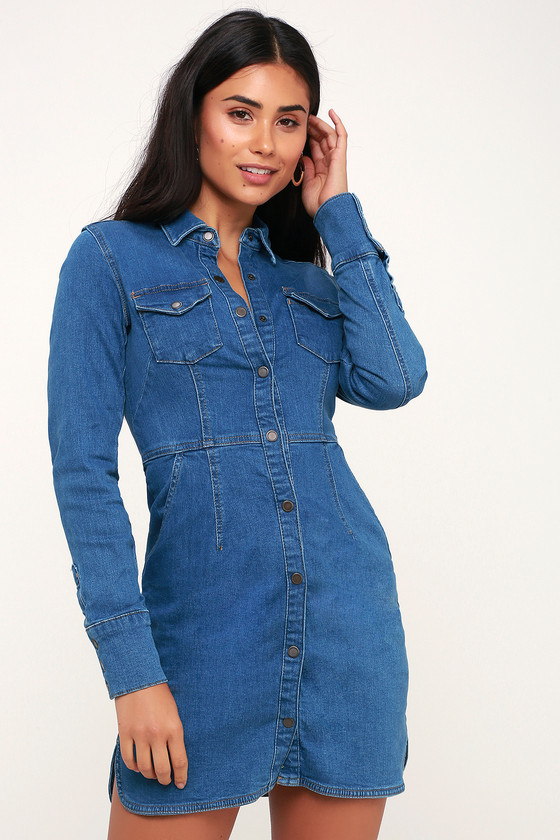 5d0609d704 Free People Dynomite - Long Sleeve Denim Dress - Blue Jean Dress