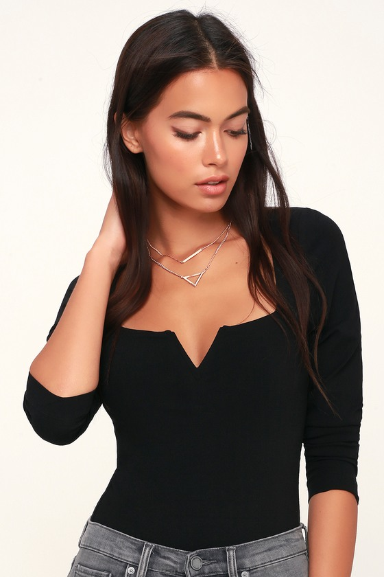 Free People Zoe - Black Long Sleeve Bodysuit - Black Bodysuit 41663c110