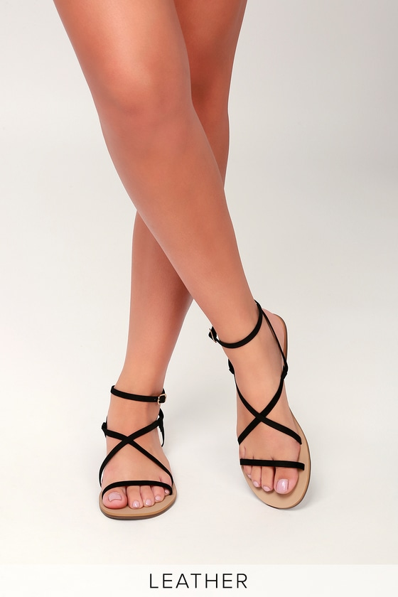 8848d8d23 Cute Black Sandals - Leather Sandals - Strappy Sandals