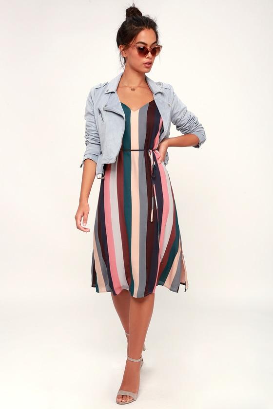 87fb0af5b2 Cute Striped Slip Dress - Midi Dress - Mauve Multi Stripe Dress